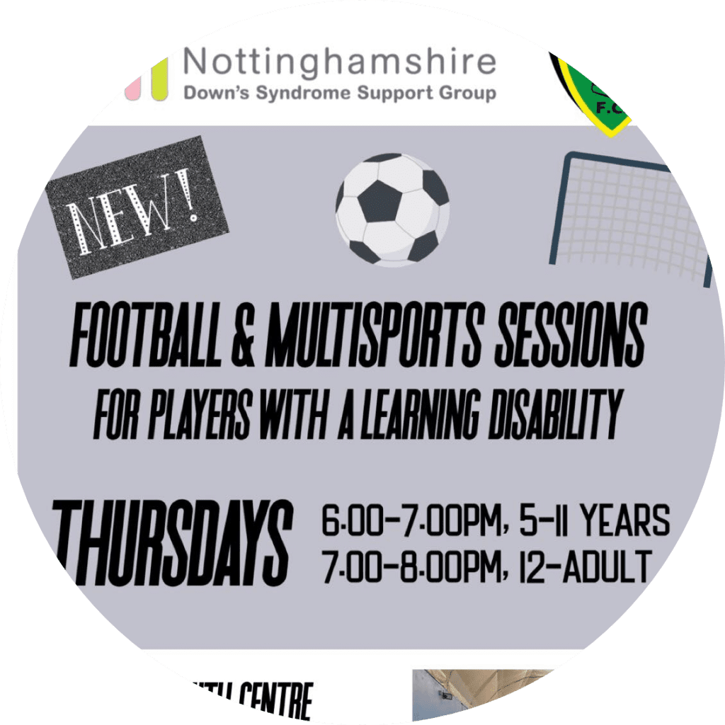 Nottinghamshire Downs Syndrome Support Group Football Flyer