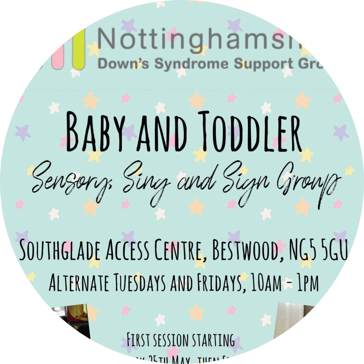 Nottinghamshire Downs Syndrome Support Group Baby and Toddler Group Flyer